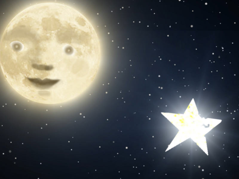 Star and moon shining