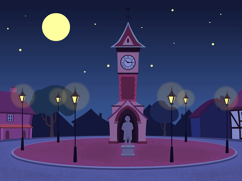 Sleepy town square